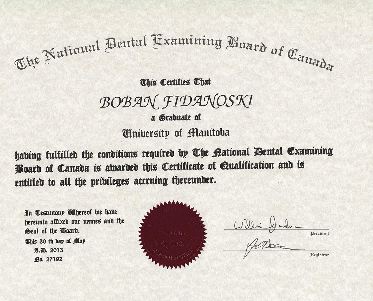Dr Boban Fidanoski Dmd Resume Curriculum Vitae