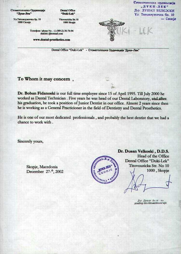 Dr Boban Fidanoski  DMD  Resume